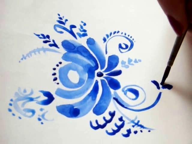 Рисунки цветов из гжели 47